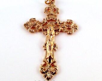 Rosary Parts  Fleur-de-Lis Gold Tone Crucifix Medal | Italian Rosary Parts