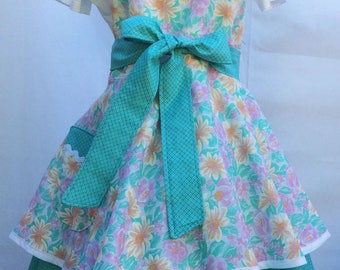 Flirty Women's Sweetheart Pinup -Aqua Floral Hostess Apron