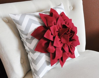 Cranberry Red Dahlia on Gray and White Zigzag Pillow -Chevron Pillow- Accent Pillow Toss Pillow Throw Pillow Christmas Decor Pillow gift