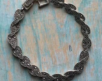 Vintage Sterling Silver Marcasite Bracelet 7 inch