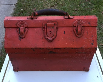 Vintage Red Tool Box,  Kennedy Tool Box, Hip Style, Inside Tray, Industral Salvage