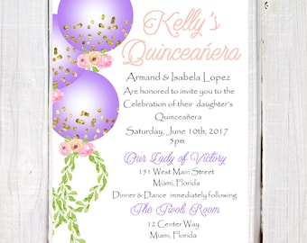 Lavender Quinceanera Invitation, lilac and Gold Quinceanera Invitation, Balloon Gold Confetti Quinceanera or sweet sixteen, quince invite
