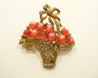 Vtg Art Deco Rhinestone & Pink Moonstone Figural Flower Basket Brooch / Pin
