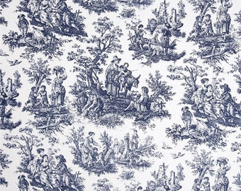 One Tailored Queen/King Bedskirt   and Two 26 x 26 Euro Pillow Covers- 100% Cotton - Waverly Toile Navy Blue