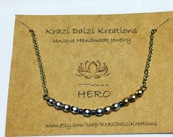Elegant HERO morse code necklace