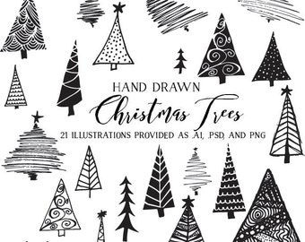 Christmas Trees Vector Clipart - Holiday Clip Art - Hand Drawn Illustrations for Cards / Art / Packaging Commercial Use