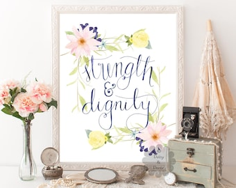 strength and dignity Proverbs 31:25 Bible verse Scripture print typography art print wall decor wall art print handwritten home printable