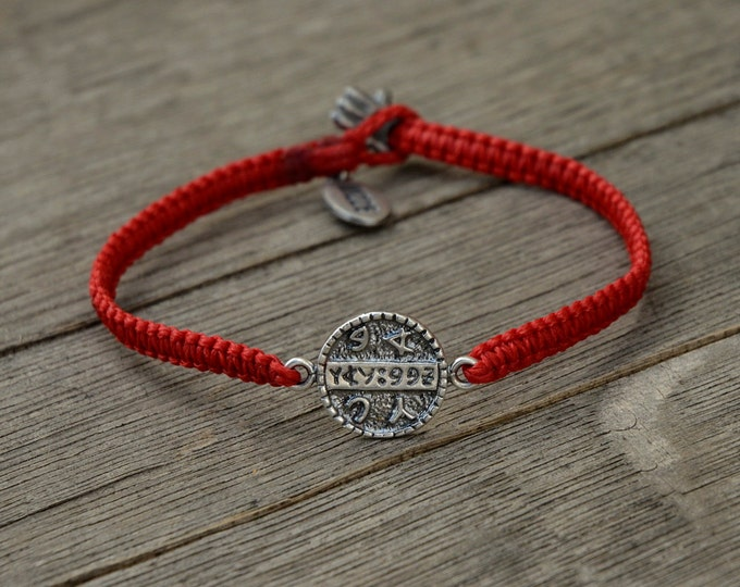 925 Sterling Silver Health Amulet on Hand Woven Red Macrame Bracelet - Button Clasp