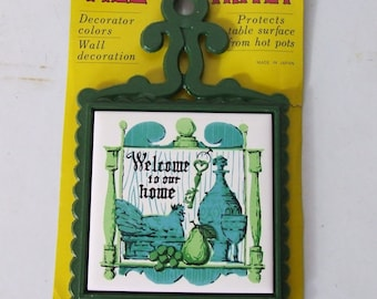Tile Trivet Kitchen Green Aqua Decor Welcome to Our Home
