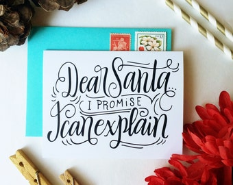 Dear Santa, I promise I can explain  - one card with a turquoise envelope