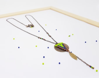 NEW! Apple green, blue and bronze coin necklace