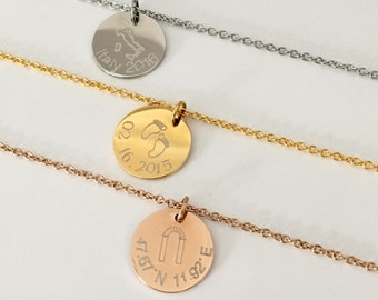Custom Disc Necklace, Name Necklace, personalized Jewelry, Rose Gold, Silver, Gold Necklace, Coordinate Disc, Date Necklace, Initial Necklac
