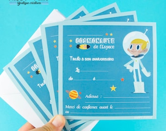 6 invitations birthday Cosmonaut - Space, rocket, astronaut