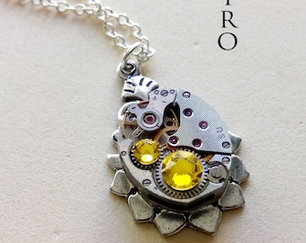 Steampunk necklace The Helios yellow-  steampunk jewelry - watch necklace  woman steampunk necklace  victorian jewelry