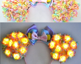 Light-Up Pastel Rainbow Floral Mouse Ears