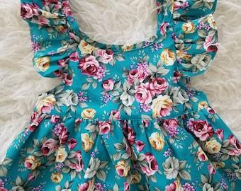 Girls spring dress, baby spring dress, girls summer dress, teal floral dress, pink floral dress, flower girl dress, boutique dress,