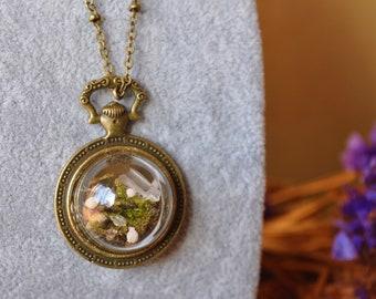 Wonderland compass * pendant bronze compass jar Crystal terrarium Moss wild flowers