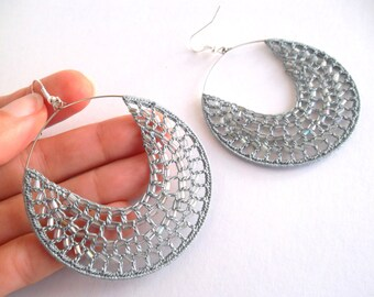 Seed Bead Earrings, Beaded Hoop Earrings, Glass Bead Delicate Lace Crochet Earrings, Silver Tone Filigree Earrings, Charcoal Grey Hoops