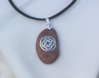 Irish Celtic Eternity Knot Beach Pebble Pendant Necklace