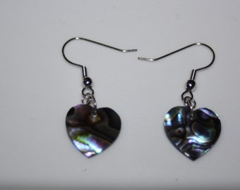 Heart Paua Shell Earrings