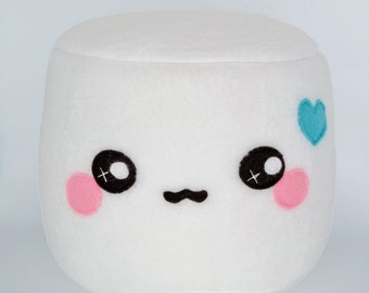Marshmallow plushie - pillows cushions chocolate dipped novelty round kawaii food sweets geekery