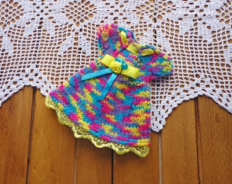 """Doll dress, knitting dress, clothes for Waldorf dolls / Waldorf doll dress/ (fits 13-14"""" doll) colored knitted doll dress, doll clothing,"""