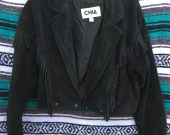 Vintage Black Cropped Leather Fringe Jacket