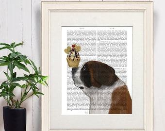 Saint bernard dog -  St bernard Ice cream dog - St bernard breed St bernard art Swiss st bernard St bernard print St bernard dog Large dog