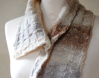 Hand Knit Wool Cowl, Natural Colours, Wrap, Scarf, Neckwarmer, Noro Yarn,