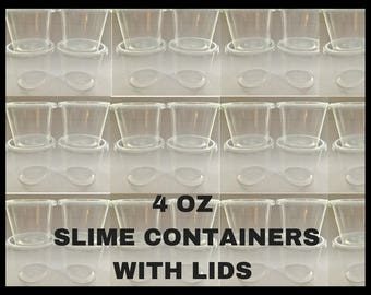 4 OZ Plastic Containers With Lids For Slime, Plastic Container With Lid, Craft Supplies, Kids Crafts, Small Storage Containers, Ramekins
