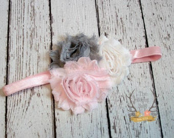 Baby Pink White Gray Headband - Newborn Infant Baby Toddler Girls Adult Wedding Spring New Baby