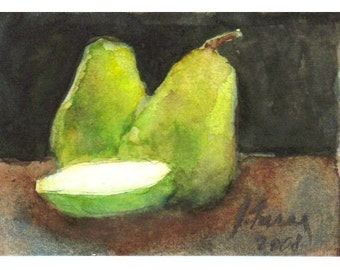 Original Watercolor Painting, ACEO Green Pears Perfect Kitchen Art, Watercolor Still Life, Lime Green, Chartreuse, Free US Shipping