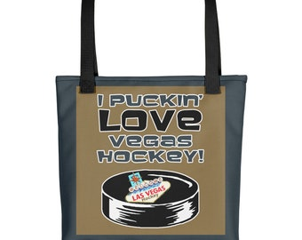 Hockey Tote Bag I Puckin Love Vegas Hockey Humorous Tote Vegas Tote Gift For Her Gift For Him Funny Knights Gift Hockey Lover Golden Knight