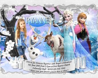 Personalize Frozen Invitation, Princess Elsa Birthday Invite, Olaf Party