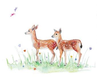 Deer and butterflies in field greeting card (blank inside)