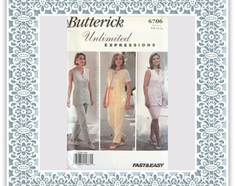 Butterick 6706 (1993) Top, skirt, and pants (with petite option) - Vintage Uncut Sewing Pattern