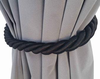 "1 Large Handmade Black Window Treatment Hardware Home Decor Curtain Tie Drapery Pull Back Cord/Rope 36"" Long Thick Tieback Drape Holdback"