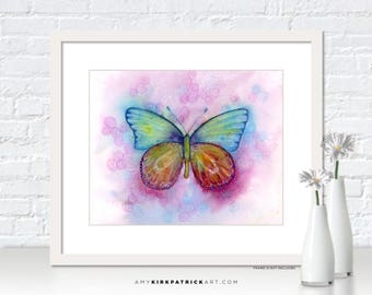Pink Blue Butterfly Painting, Butterfly Print, Original Butterfly Watercolor, Butterfly Greeting Cards, Butterfly Wall Art, 35 Blessings