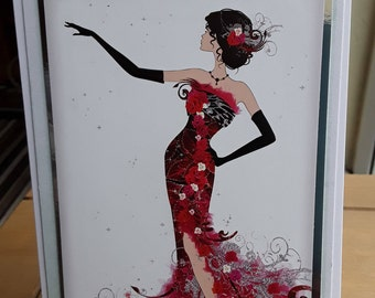 Greeting Card, lady in a floral dress