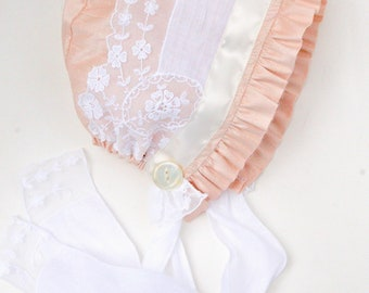 Pink silk and Vintage lace baby bonnet-- antique baby girl hat. Easter bonnet. infant photo prop. silk baby hat. baby girl shower gift