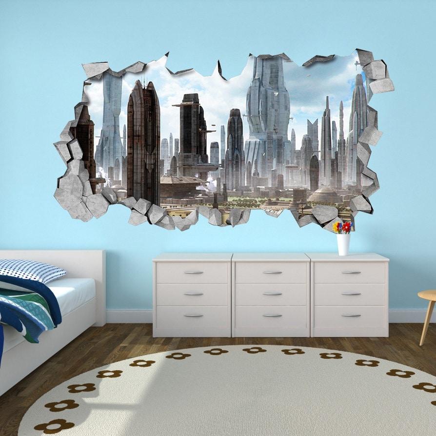 SCI-FI 3d Wallpaper 3d wall decals Broken Wall Decal 3d