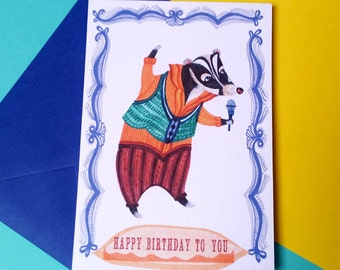 Singing Badger Birthday Card