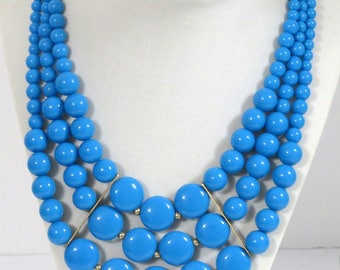 Multi strand turquoise acrylic beaded necklace, Statement beaded necklace,