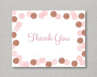 Rose Gold Glitter Thank You Card / Glitter Baby Shower / Confetti / Rose Gold / Blush Pink / Folded Card / PRINTABLE Instant Download A147