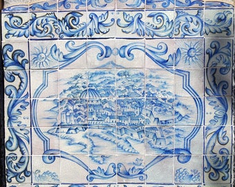 Catania on ceramic for a panel, in white and blue-Catania on ceramic for a panel, in white and blue