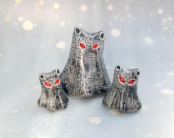 Ghost Cat Family Ceramic Figurines in Grey