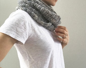 Soft Merino Infinity Scarf: gray variegated | handmade | natural fibers | lightweight | fair trade merino wool | mothers day