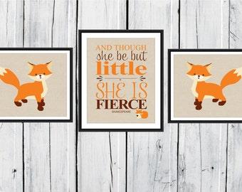 Fox Nursery Decor - 3 Piece set - Fox Print Trio