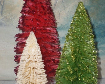 Traditional Christmas sisal tree Trio: Red, green, White bottle brush trees