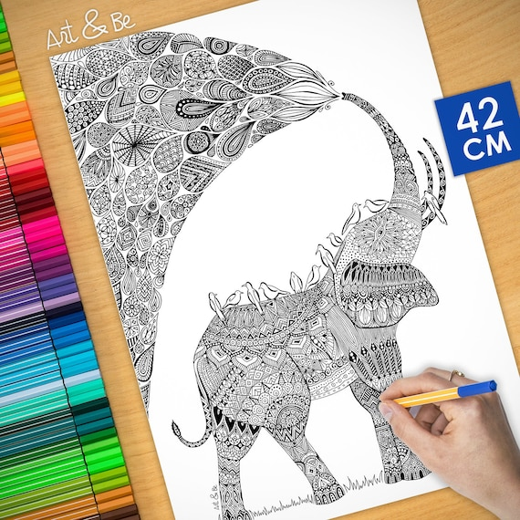 Coloring poster - ELEPHAN...